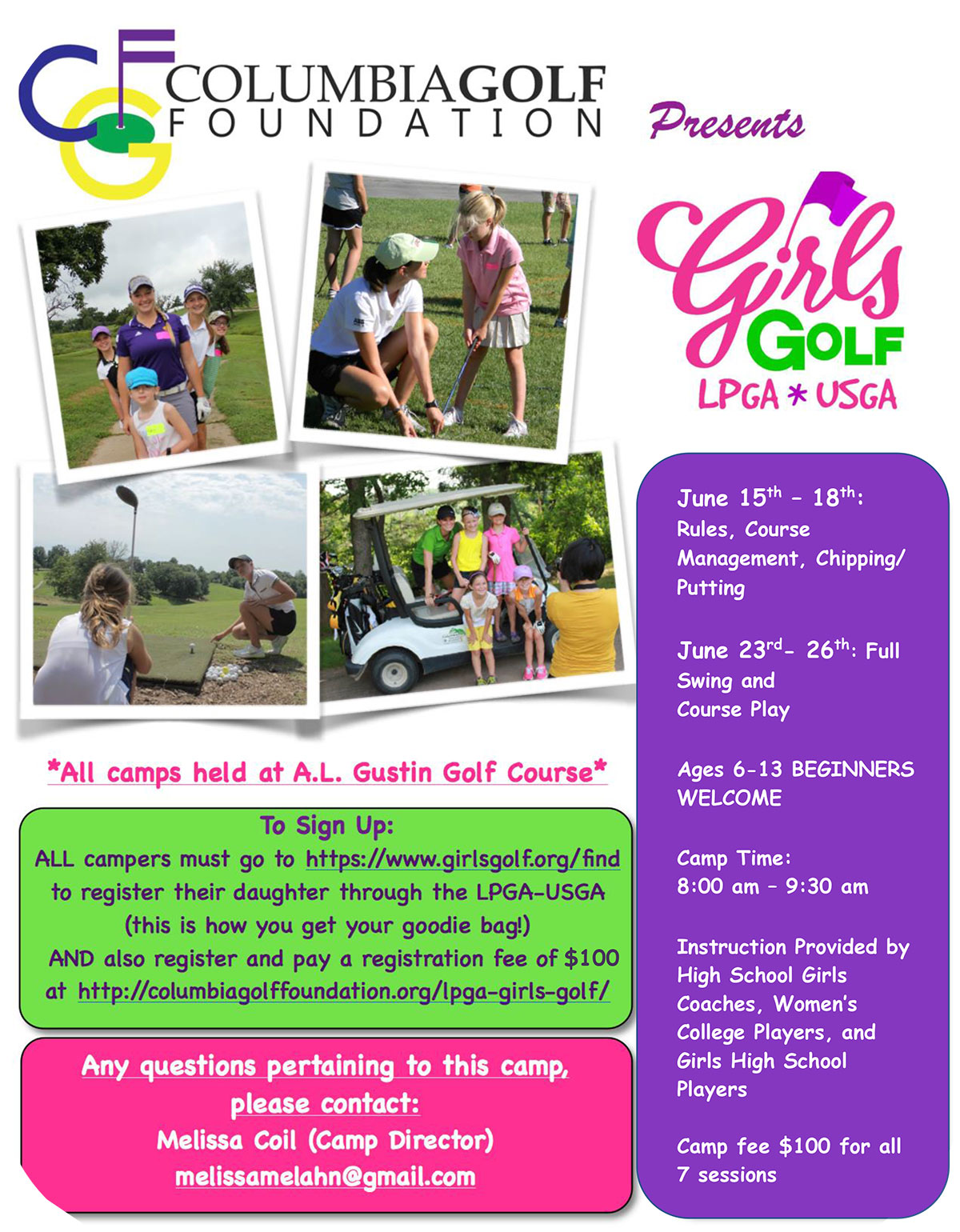 Columbia Golf Foundation Presents the June 2020 LPGA Girls Golf Camp Ladies Professional Golf Association Flyer Brochure Girls Golf